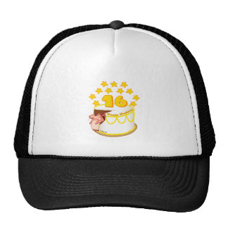 16 Year Old Birthday Cake Mouse Trucker Hats