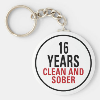 16 Years Clean and Sober Basic Round Button Key Ring