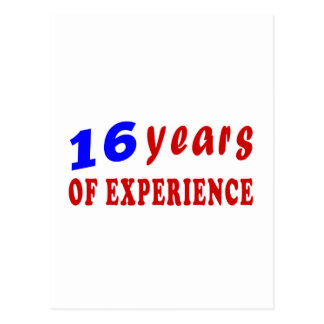 16 years of experience post cards