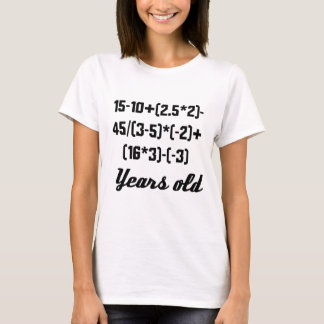 16 Years Old Algebra Equation T-Shirt