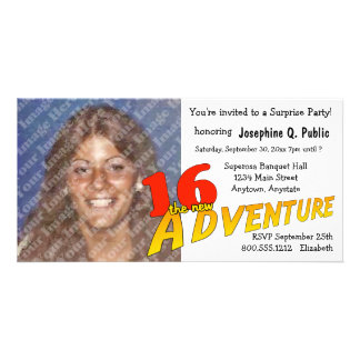 16th Birthday Adventure Party Photo Invitation Photo Card Template