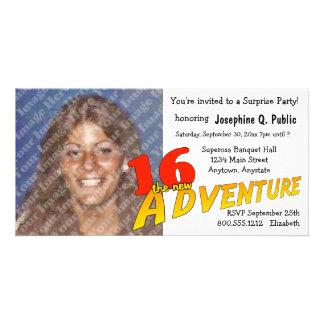 16th Birthday Adventure Party Photo Invitation Picture Card