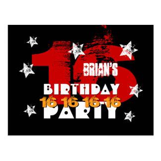 16th Birthday Black Red White Stars Save Date K04Z Postcard