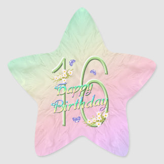 16th Birthday Butterflies and Rainbows Star Sticke Star Sticker