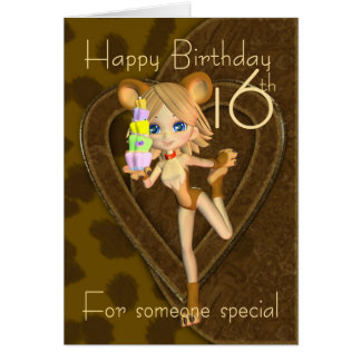 16th Birthday card, Cutie Pie Animal Collection Card
