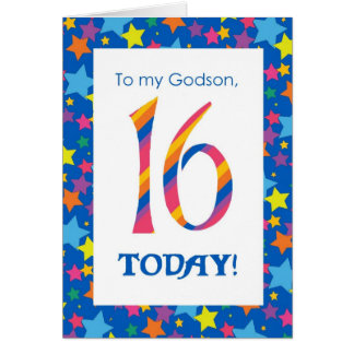 16th Birthday Card for Godson, Stripes and Stars
