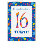 16th Birthday Card for Grandson, Stripes and Stars
