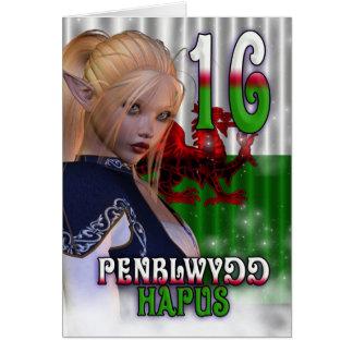 16th Birthday card Welsh, Penblwydd Hapus Bilingua