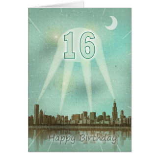 16th Birthday card with a city and spotlights