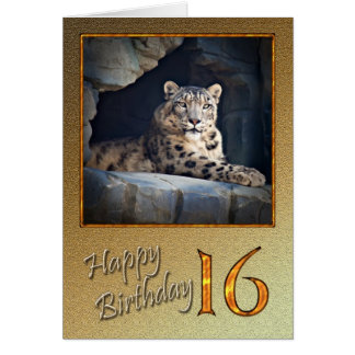 16th Birthday Card with a snow leopard