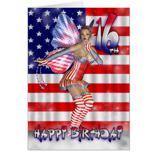 16th Birthday Card with Fairy in stars and stripes