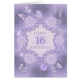 16th birthday card with lavender flowers
