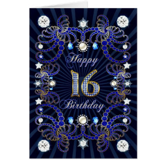 16th birthday card with masses of jewels