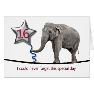 16th Birthday card with tightrope walking elephant