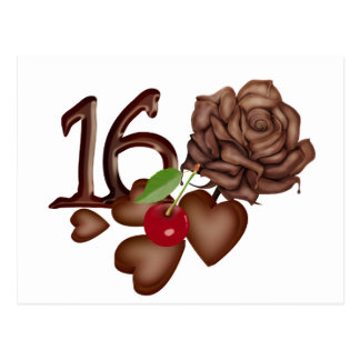 16th Birthday chocolate hearts and rose Postcard