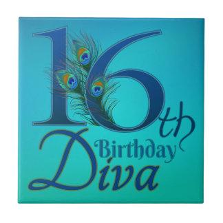 16th Birthday Diva Small Square Tile