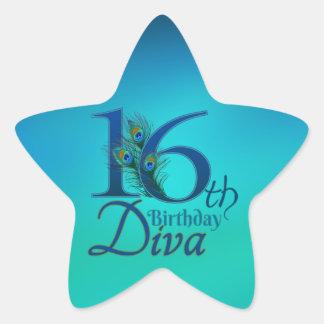 16th Birthday Diva Star Sticker