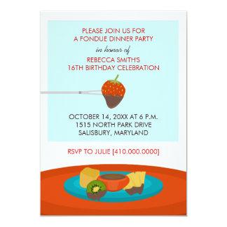 16th Birthday Fondue Dinner Party Invitations