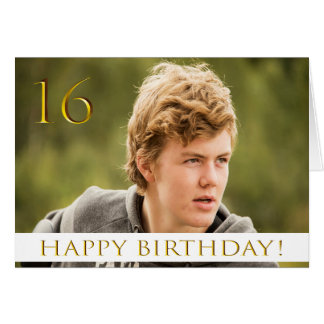 16th birthday for a boy with your portrait photo card