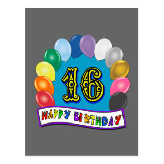 16th Birthday Gifts with Assorted Balloons Design Postcard