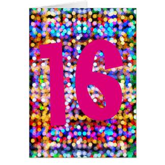 16th Birthday. Happy Bright Colourful Lights Card