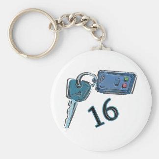 16th Birthday Keys Gifts Basic Round Button Key Ring