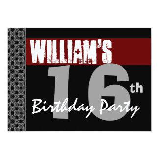 16th Birthday Modern Red Black Silver W1701 13 Cm X 18 Cm Invitation Card
