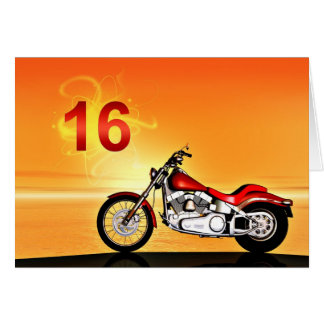 16th birthday Motorcycle sunset Card