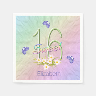 16th Birthday Party Butterflies and Wildflowers Disposable Serviettes