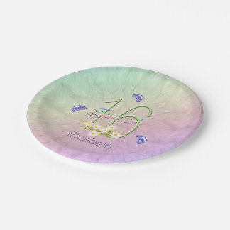16th Birthday Party Butterflies and Wildflowers Paper Plate