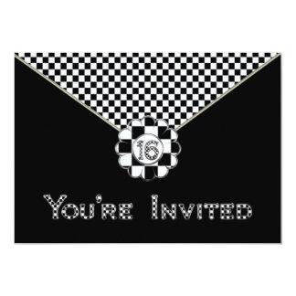 16th BIRTHDAY PARTY INVITATION - BLK/WHT ENVELOPE