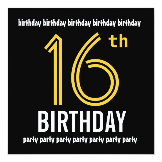 16th Birthday Party Modern Gold and Black Card