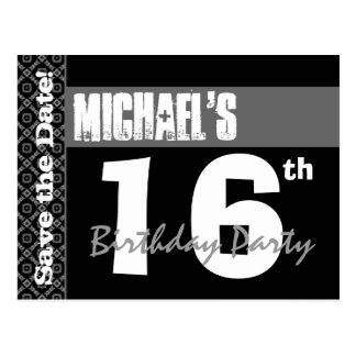 16th Birthday Party Modern Save the Date Z016A2 Postcards