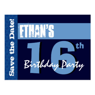 16th Birthday Party Modern Save the Date Z016A Post Cards