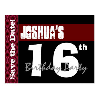 16th Birthday Party Modern Save the Date Z016A Postcard