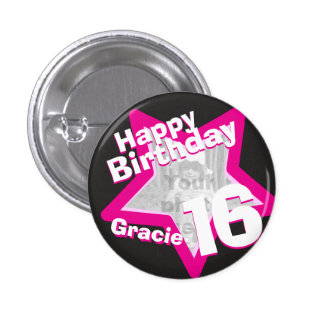 16th Birthday photo fun hot pink button badge