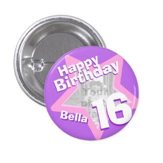 16th Birthday photo fun purple pink button/badge 3 Cm Round Badge