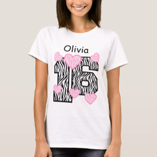 16th Birthday Pink Zebra and Hearts Custom Name A5 T-Shirt