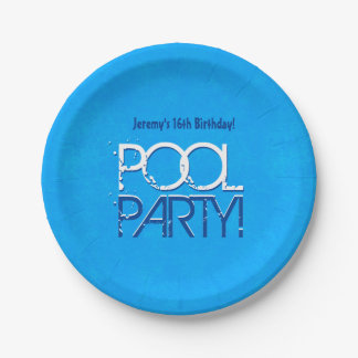 16th Birthday Pool Party Save the Date P04Z Paper Plate