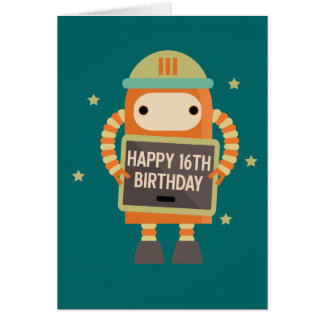 16th Birthday Robot vintage greeting card