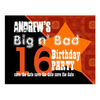 16th Birthday Save the Date Orange Diagonal A02 Postcard