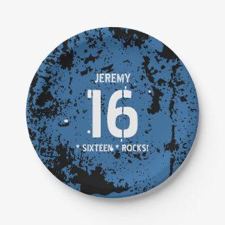 16th Birthday Sixteen Rocks BLUE Grunge F16Z Paper Plate