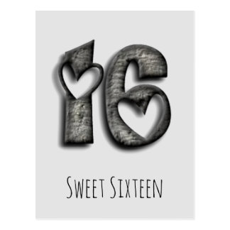 16th Birthday Sweet 16 Rustic Hearts Typography Postcard