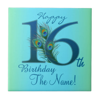 16th Birthday Template 100% personalized gift Small Square Tile