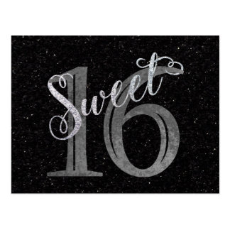 16th Black Glitter Charcoal Gray | Sweet 16 Silver Postcard