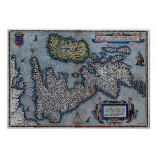 16th Century Map Of England Poster