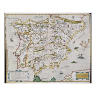 16th Century Map of Iberia Poster