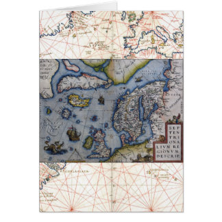 16th Century Map of Scandinavia Greeting Card