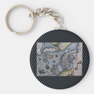 16th Century Map of Scandinavia Basic Round Button Key Ring