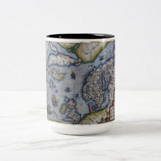 16th Century Map of Scandinavia Two-Tone Mug